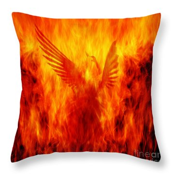 Phoenix Rising Throw Pillow by Andrew Paranavitana