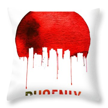 Phoenix Skyline Red Throw Pillow by Naxart Studio