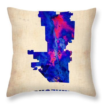 Phoenix Watercolor Map Throw Pillow by Naxart Studio