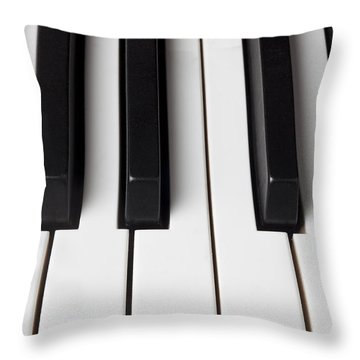 Piano Keys Close Up Throw Pillow by Garry Gay