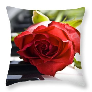 Piano Rose Throw Pillow by Sophie De Roumanie