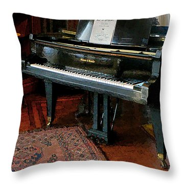 Piano With Sheet Music Throw Pillow by Susan Savad