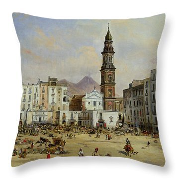 Piazza Mazaniello In Naples Throw Pillow by Jean Auguste Bard