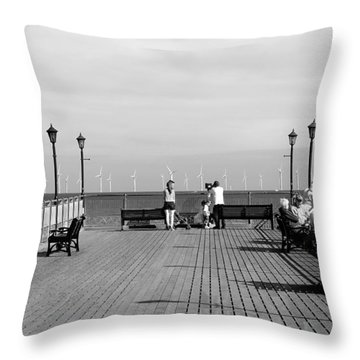 Pier End View At Skegness Throw Pillow by Rod Johnson