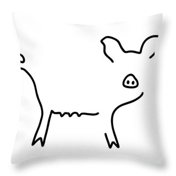 Pig Piglet Make A Mess Throw Pillow by Lineamentum