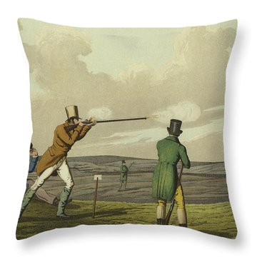 Pigeon Shooting Throw Pillow by Henry Thomas Alken