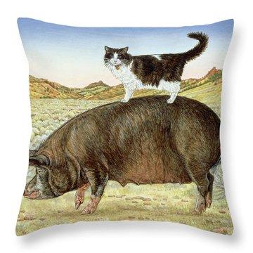 Piggyback-riding At Breteche Creek Throw Pillow by Ditz