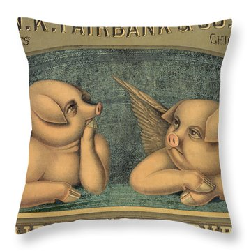 Pigs With Wings Throw Pillow by American School