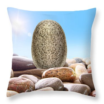 Pile Of River Rocks On White Throw Pillow by Sandra Cunningham