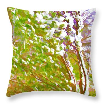 Pine Tree Covered With Snow Throw Pillow by Lanjee Chee