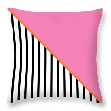 Pink And Orange And Black Geometric Throw Pillow by Linda Woods