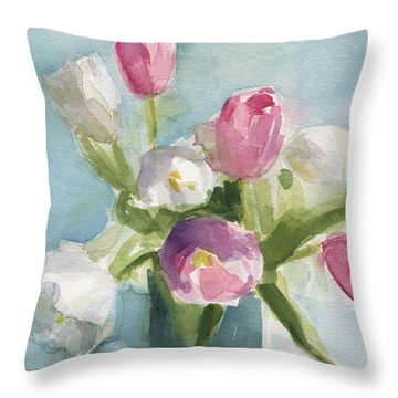 Pink And White Tulips Throw Pillow by Beverly Brown Prints