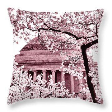 Pink Cherry Trees At The Jefferson Memorial Throw Pillow by Olivier Le Queinec