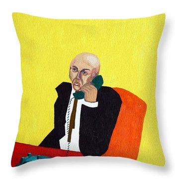 Pink Collar Man Throw Pillow by Sheri Parris