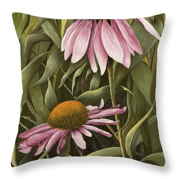 Pink Echinaceas Throw Pillow by Mary Ann King