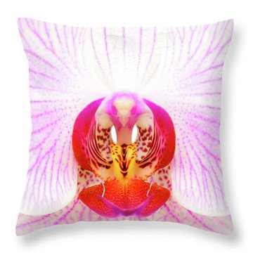 Pink Orchid Throw Pillow by Dave Bowman