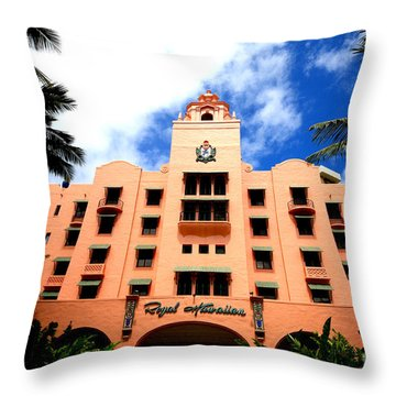 Pink Palace Of The Pacific Throw Pillow by Cheryl Young