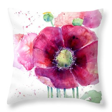 Pink Poppies Throw Pillow by Arline Wagner