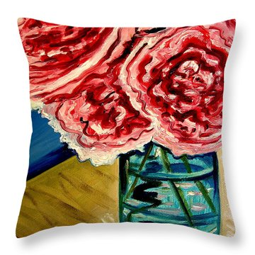 Pink Ruffled Peonies Throw Pillow by Elizabeth Robinette Tyndall