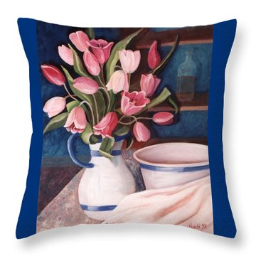 Pink Tulips Throw Pillow by Renate Nadi Wesley
