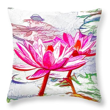 Pink Water Lily Flowers Blooming On Pond Throw Pillow by Lanjee Chee