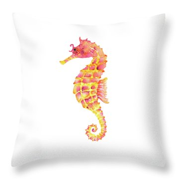 Pink Yellow Seahorse - Square Throw Pillow by Amy Kirkpatrick