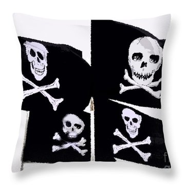 Pirate Flags Throw Pillow by David Lee Thompson
