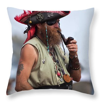 Pirate Peanut Island Florida Throw Pillow by Michelle Wiarda