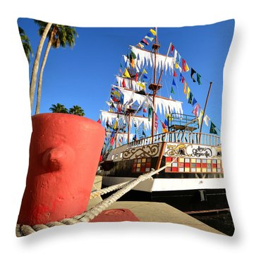 Pirates In Harbor Throw Pillow by David Lee Thompson