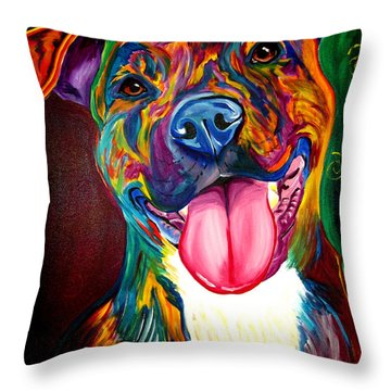 Pit Bull - Olive Throw Pillow by Alicia VanNoy Call