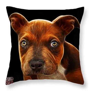 Pitbull Puppy Pop Art - 7085 Bb Throw Pillow by James Ahn