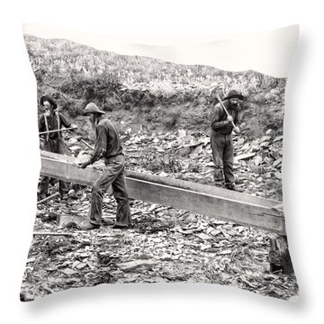 Placer Gold Mining C. 1889 Throw Pillow by Daniel Hagerman