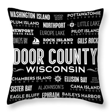 Places Of Door County On Black Throw Pillow by Christopher Arndt