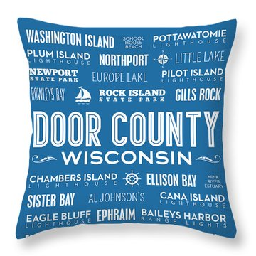Places Of Door County On Blue Throw Pillow by Christopher Arndt
