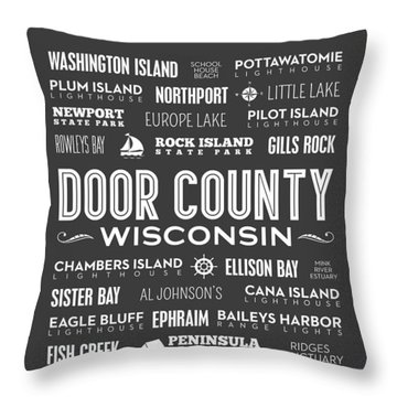 Places Of Door County On Gray Throw Pillow by Christopher Arndt