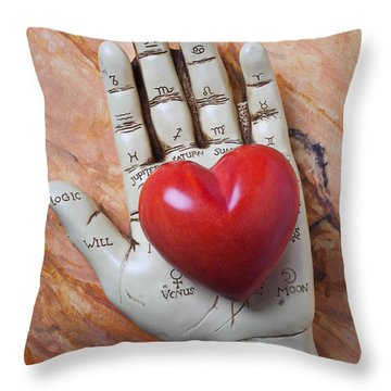 Plam Reader Hand Holding Red Stone Heart Throw Pillow by Garry Gay