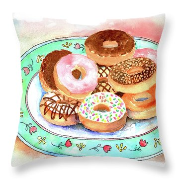 Plate Of Donuts Throw Pillow by Arline Wagner