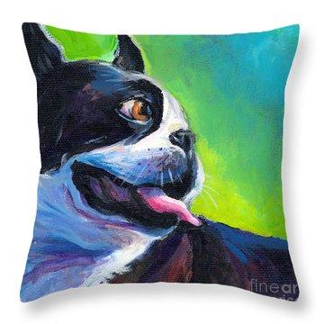 Playful Boston Terrier Throw Pillow by Svetlana Novikova