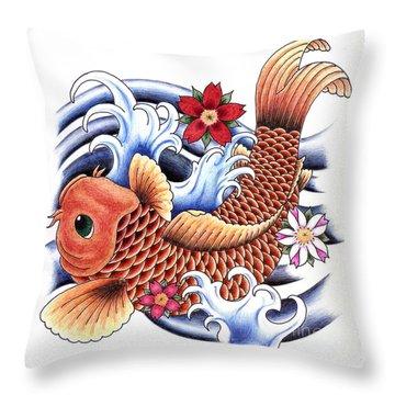 Playing Koi Throw Pillow by Maria Arango