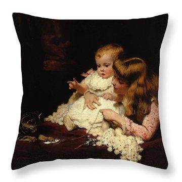 Playmates Throw Pillow by Arthur John Elsley