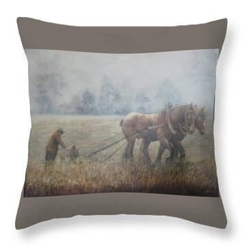 Plowing It The Old Way Throw Pillow by Donna Tucker