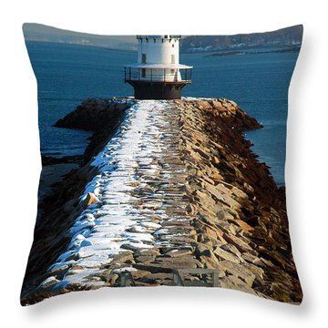 Point Spring Ledge Light - Lighthouse Seascape Landscape Rocky Coast Maine Throw Pillow by Jon Holiday