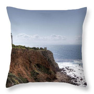 Point Vicente Lighthouse In Winter Throw Pillow by Heidi Smith