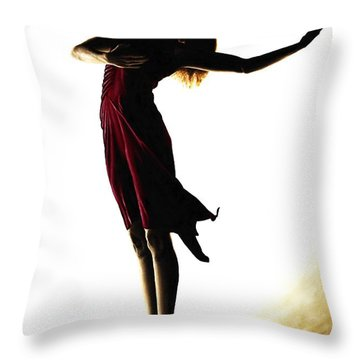 Poise In Silhouette Throw Pillow by Richard Young