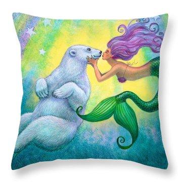 Polar Bear Kiss Throw Pillow by Sue Halstenberg