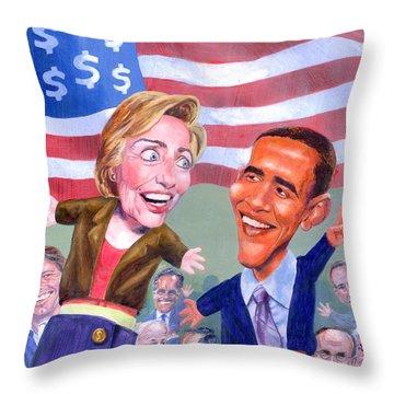 Political Puppets Throw Pillow by Ken Meyer jr
