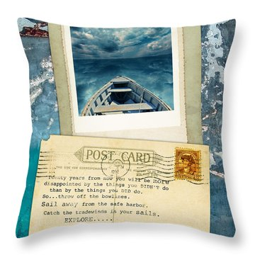 Poloroid Of Boat With Inspirational Quote Throw Pillow by Jill Battaglia