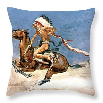 Pony War Dance Throw Pillow by Frederic Remington
