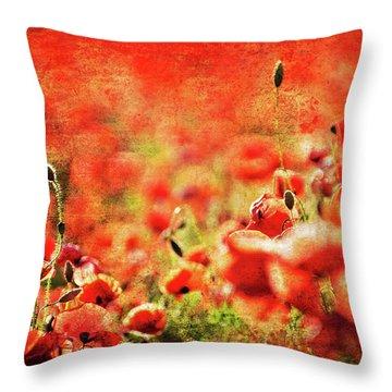 Poppies Throw Pillow by Meirion Matthias