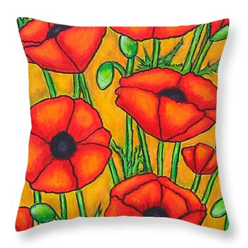 Poppies Under The Tuscan Sun Throw Pillow by Lisa  Lorenz
